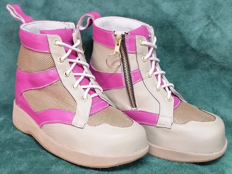 Zip up beige and pink leather boots with beige mesh and soles