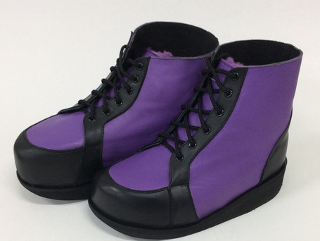 Purple and black leather boots
