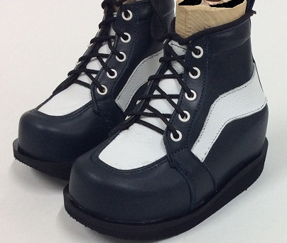 Navy and white leather ankle boots