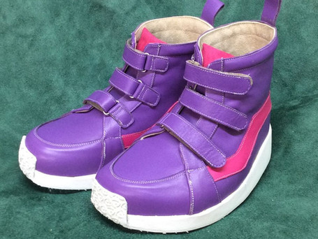 Purple, pink and white velcro ankle boots