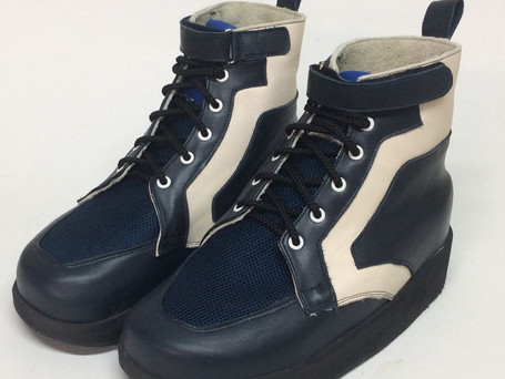 Velcro lace up combination boots with navy and white leather and navy mesh