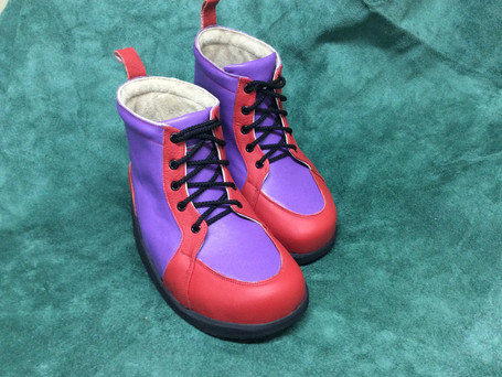Red and purple boots