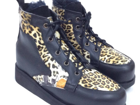 Leopard and black leather with lambswool lining