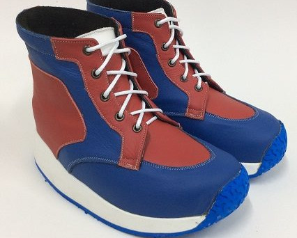 Red, blue and white ankle boots