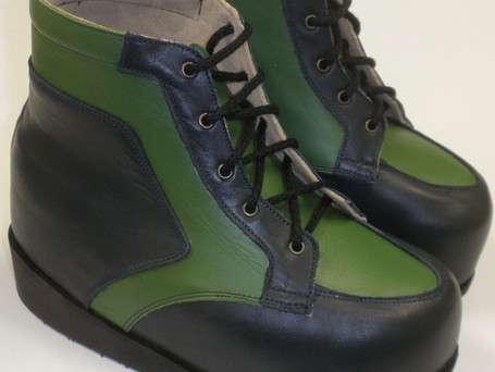 Green and black boots