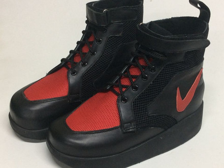 Lace up velcro combination with red and black mesh