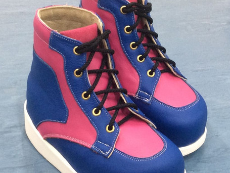 Blue, pink and white boots