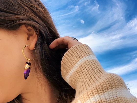 Dark Purple Aura Quartz Dangle Wrap Earrings