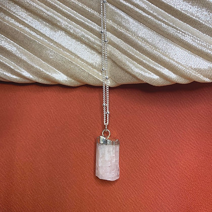 Pink Tourmaline 925 Sterling Silver Crystal Necklace