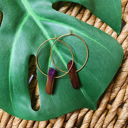 Rainbow Aura Quartz Crystal Earrings