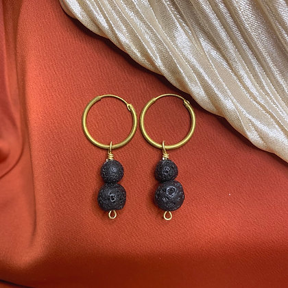 Lava Stone Hoop Earrings