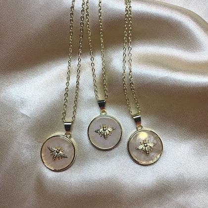 Bumble Bee Rose Quartz Necklace