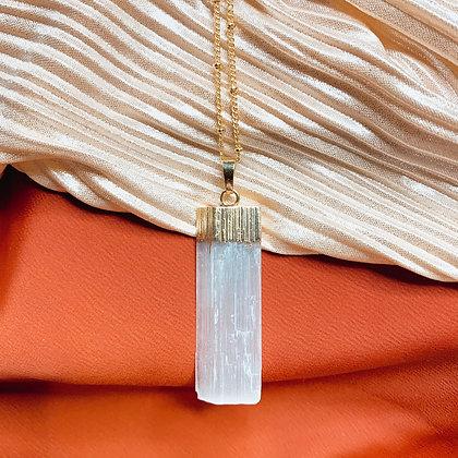 Selenite Block Necklace