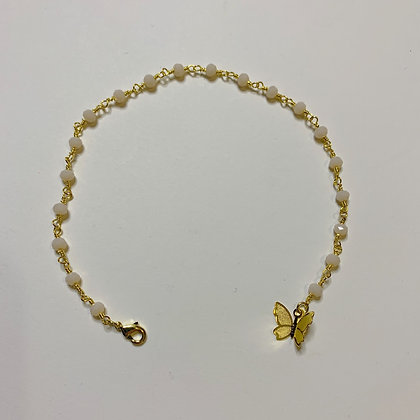 Angel Butterfly Beaded Anklet Gold