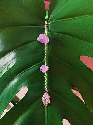 Buddha Amethyst Drop Necklace