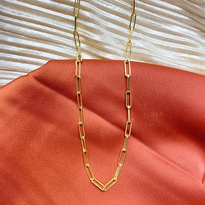 Minimalist Paper Clip Vermeil Necklace