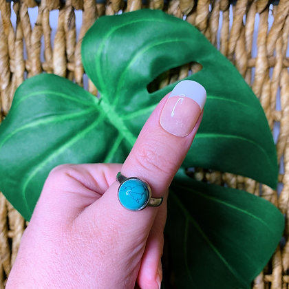 Turquoise Adjustable Ring - Hypoallergenic Stainless Steel