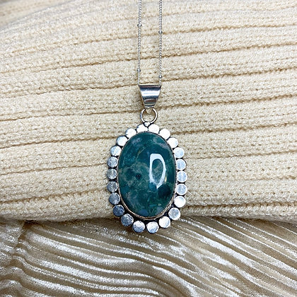Moss Agate 925 Sterling Silver Necklace