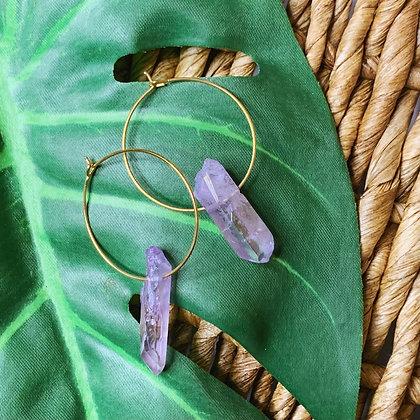 Purple Aura Quartz Crystal Earrings