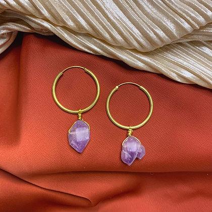 Raw Amethyst Gold Hoop Earrings