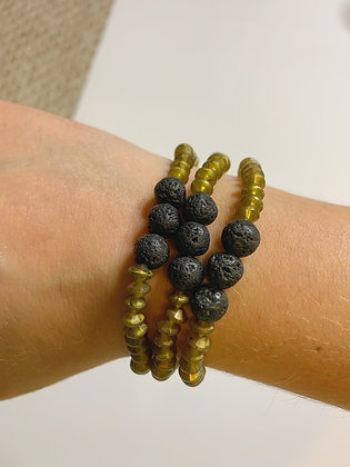Lava Stone Goddess Beaded Bracelet