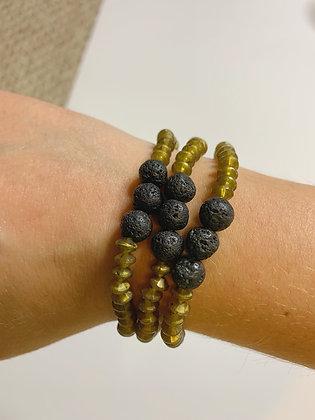 Lava Stone Goddess Beaded Bracelet