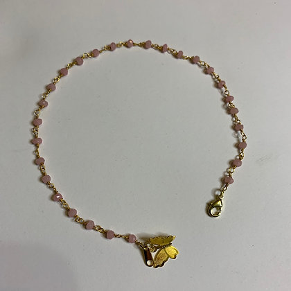 Pink Tourmaline Butterfly Beaded Anklet Gold