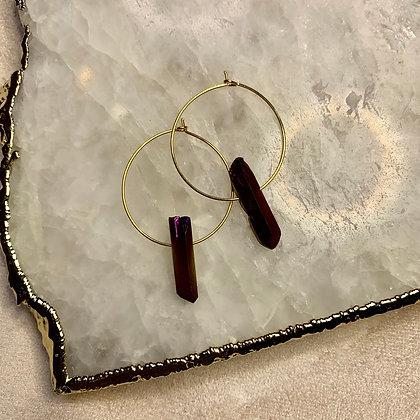 Rainbow Aura Quartz Crystal Earrings