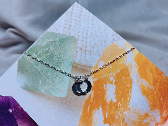 Three Moon Silver Moon Necklace