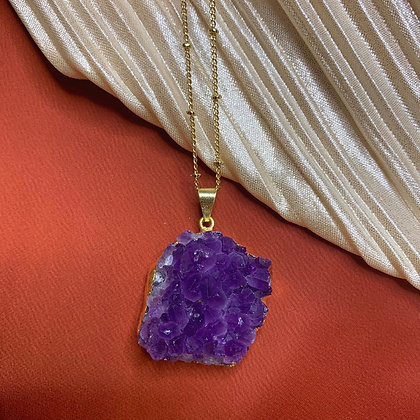 Amethyst Druzy Gold Necklace