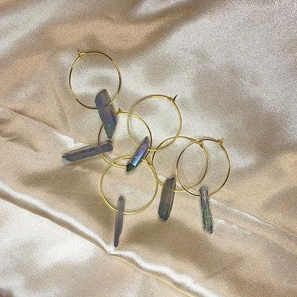 Aqua Aura Quartz Crystal Earrings