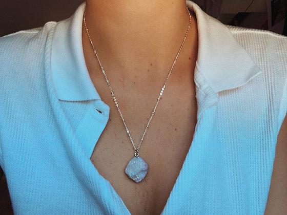 Lavender Geode Crystal Necklace