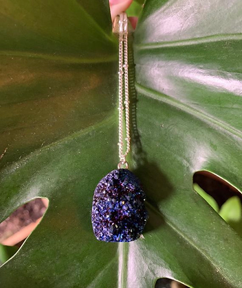 Titanium Blue Aura Quartz Necklace