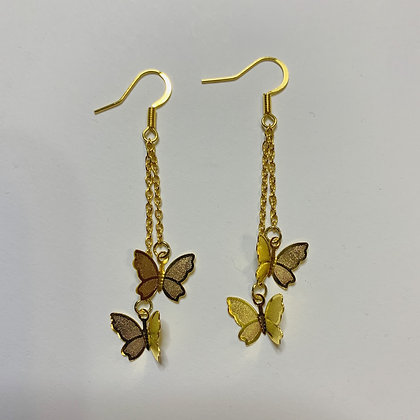 Gold Butterfly Dangle Earrings