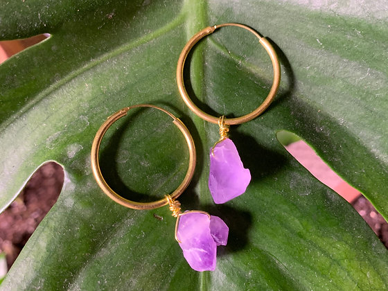 Raw Amethyst Gold Hoop Earrings