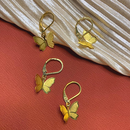 Gold Butterfly Tiny Hoop Earrings