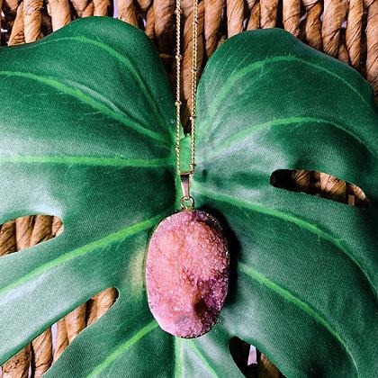 Fuchsia Geode Necklace