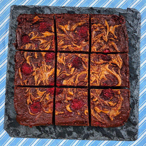 Peanut Butter & Raspberry Chocolate Brownie x 9 squares