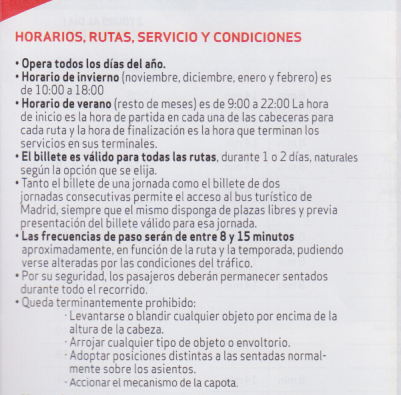 Madrid Tourist bus info