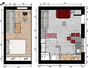 Plan 2D studio aménagé