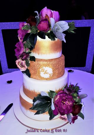4 Tier White & Gold Wedding Cake