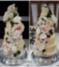Stunning six tier buttercream coated eggless wedding cake with masses of beautiful roses cascading down on front and back