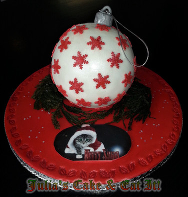 Christmas bauble made from chocolate truffle cake