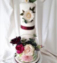 burgundy + cream hoop cake