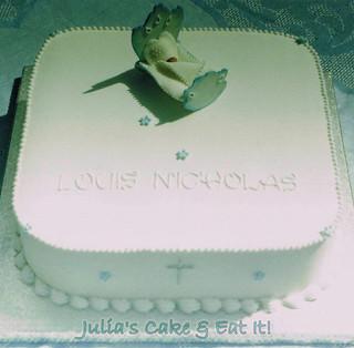 Royal iced christening cake