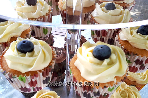 Elderflower & Blueberry Cupcakes - Box of 12