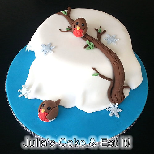 BARGAIN CHRISTMAS OFFER - Snowy Christmas Cake with Robins