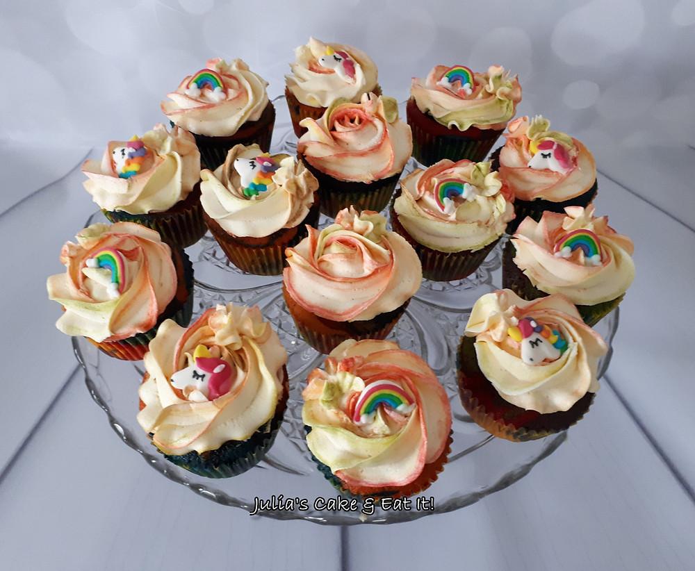 Rainbow cupcakes with unicorn & rainbow toppers