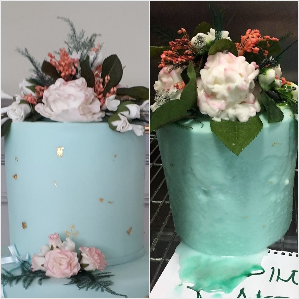 Example of what happens to a fondant covered cake when it is stored in the fridge
