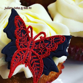 Edible Lace Butterfly on vanilla buttercream
